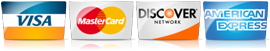 Visa, Mastercard, Discover, Amex Credit Card Payments Accepted